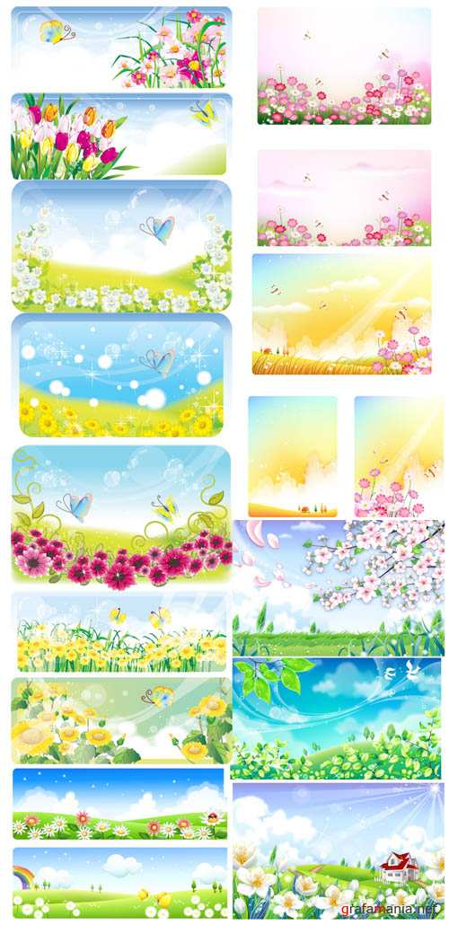 Floral Vector Spring Banners