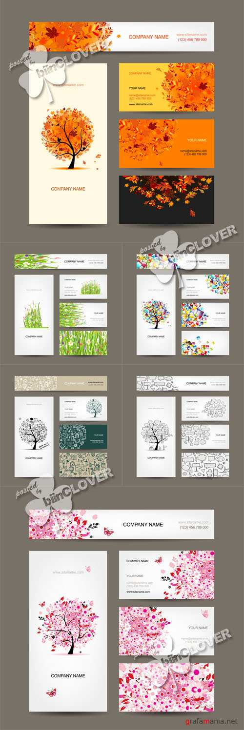 Business cards with trees 0477