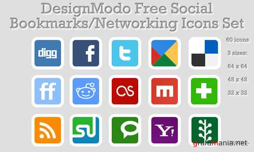 Social Bookmarks/Networking Icons Set