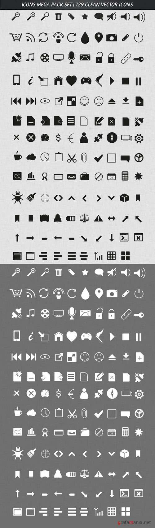 129 Clean Mega Pack Vector Icons