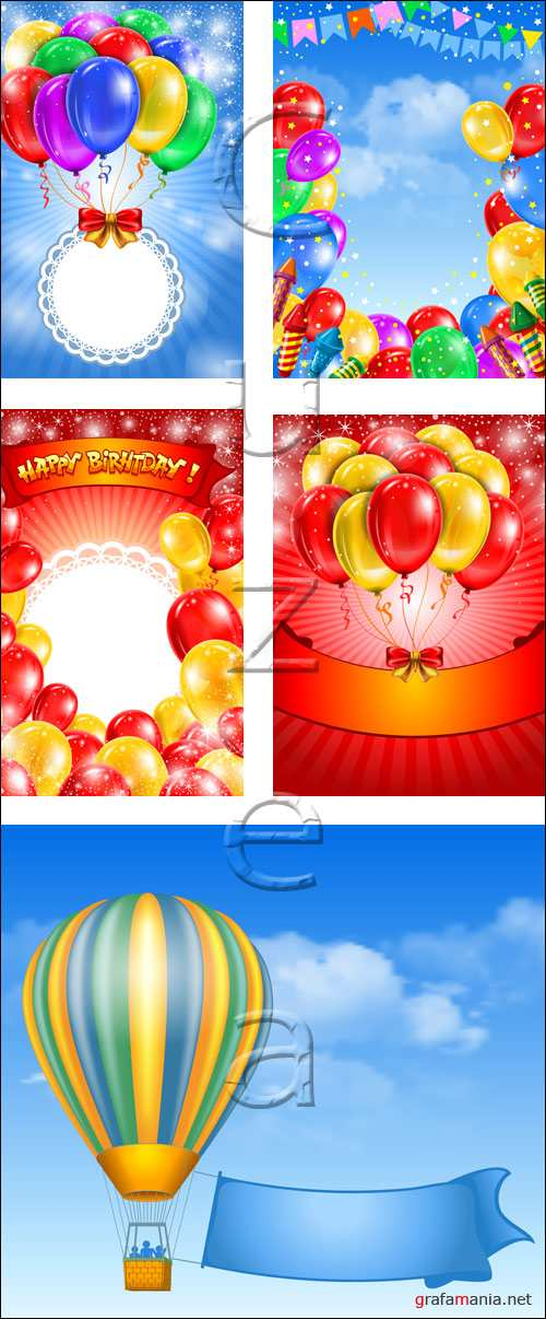Happy birthday backgrounds with color ballons - vector stock