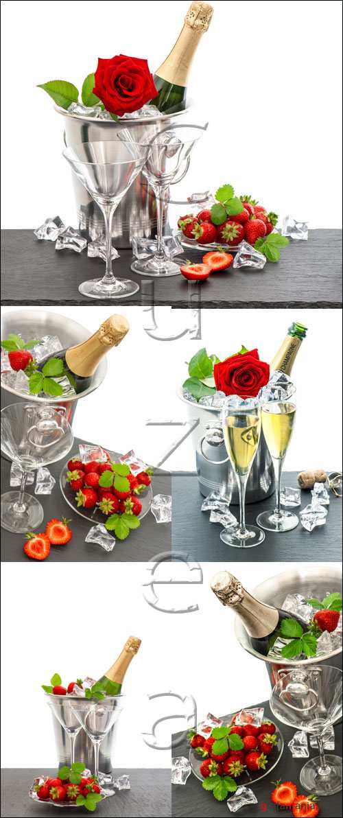 Festive arrangement with bottle of champagne and strawberries - stock photo
