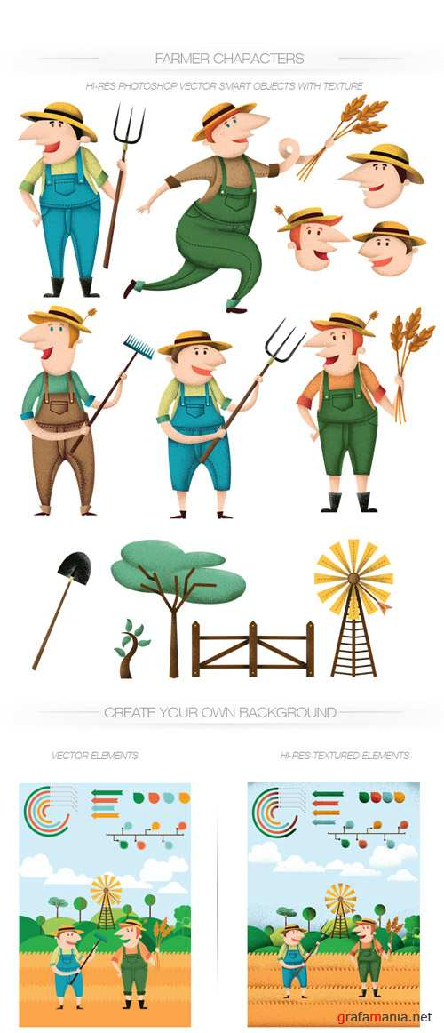 Farmers Vector Characters Set