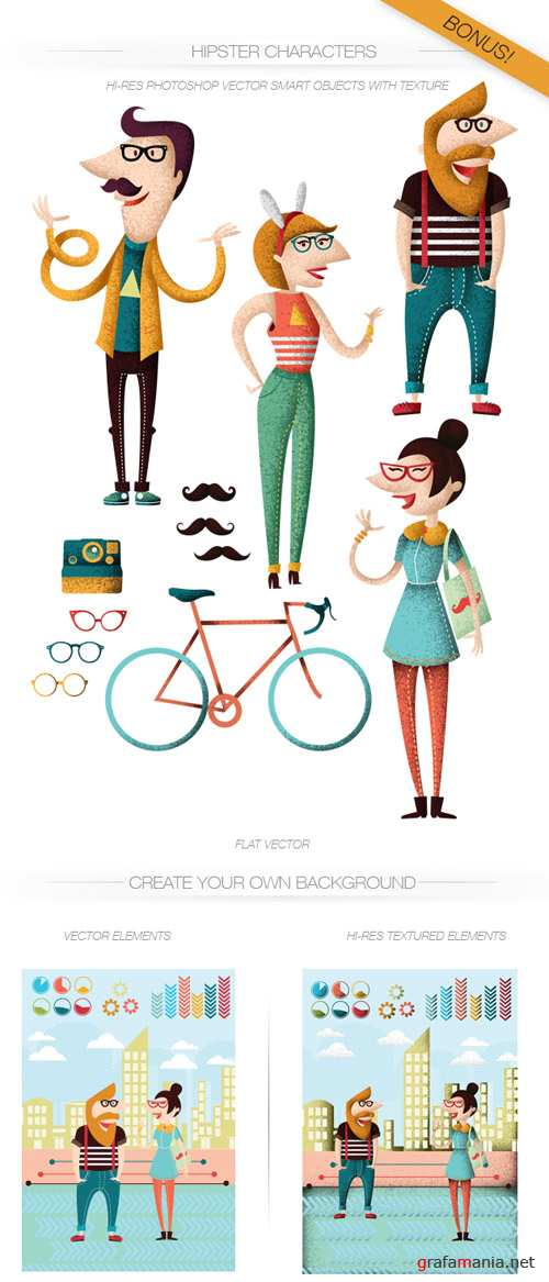 Hipsters Vector Characters Set