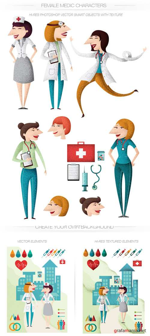 Nurses Vector Characters Set