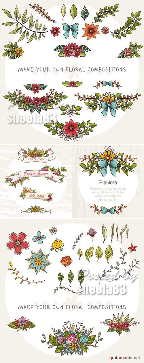 Cute Simple Floral Elements Vector
