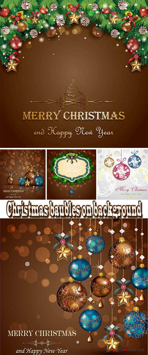 Stock: Christmas baubles on background