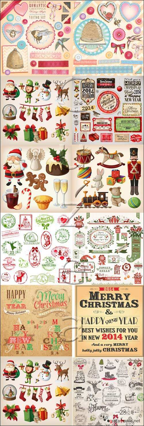 Merry christmas vector elements 2014, part 7