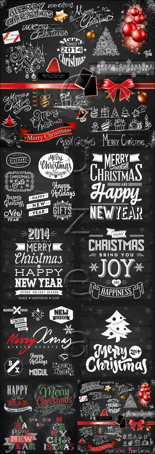 Merry christmas vector elements 2014 in black, part 8