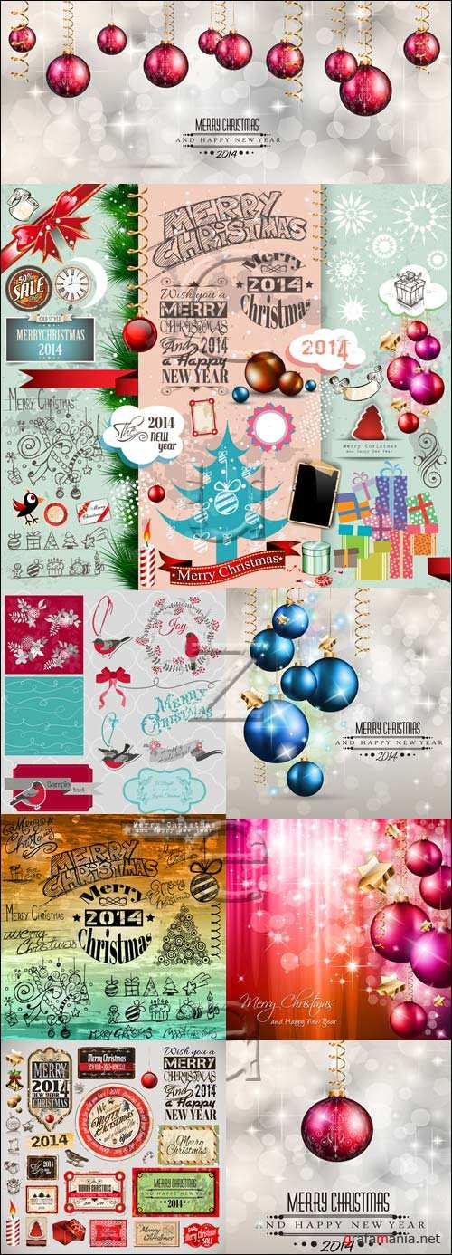 New year 2014 inscription and elements, 11 - vector stock