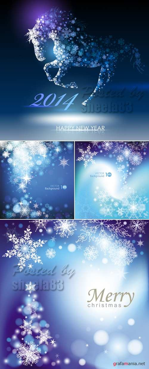 Blue Christmas & New Year Backgrounds Vector