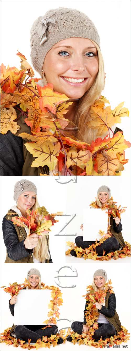 Woman in autumn leaves with white banner - stock photo