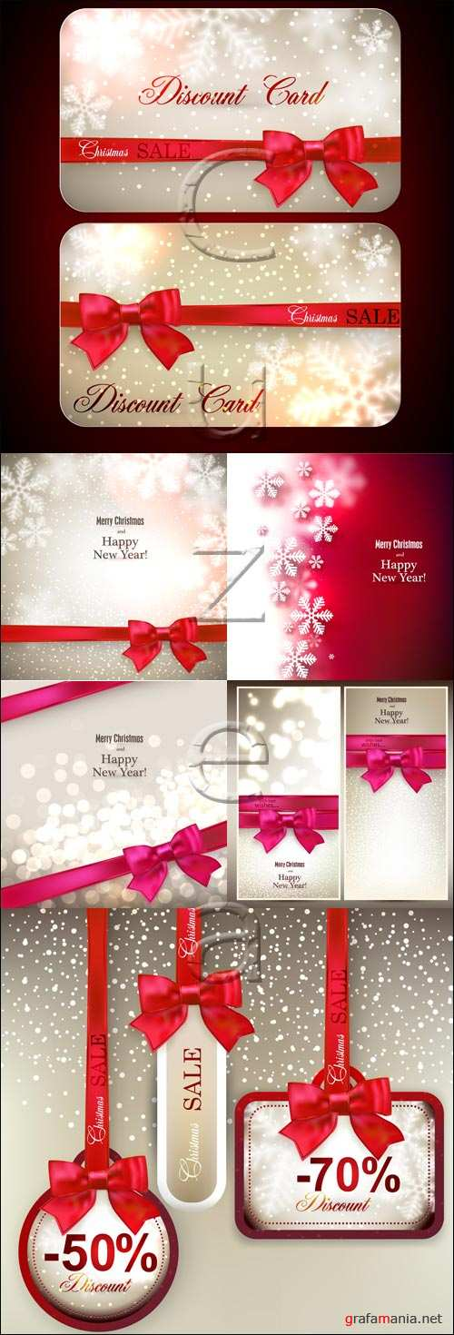 Merry christmas sale with ribbons - vector stock