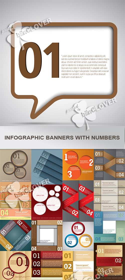 Infographic banners with numbers 0496
