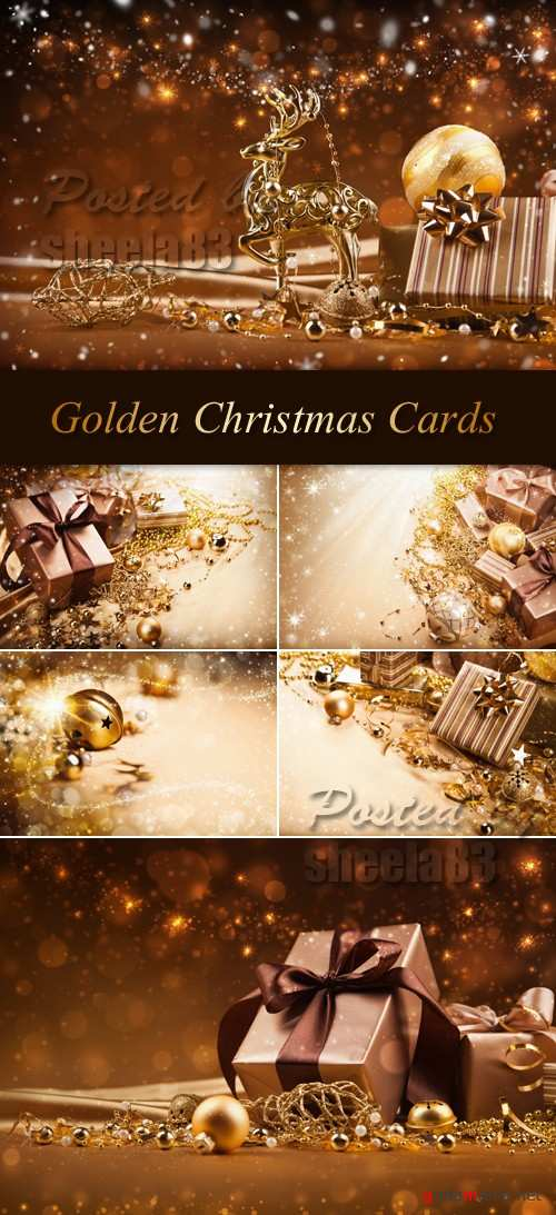 Stock Photo - Golden Christmas Cards 2