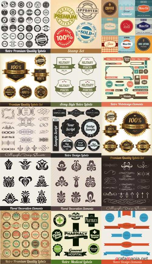 Vector Set Bages and Calligraphic Elements