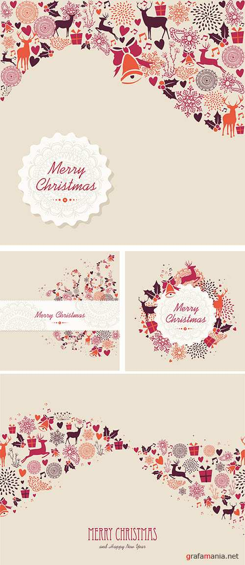 Stock: Merry Christmas label retro composition