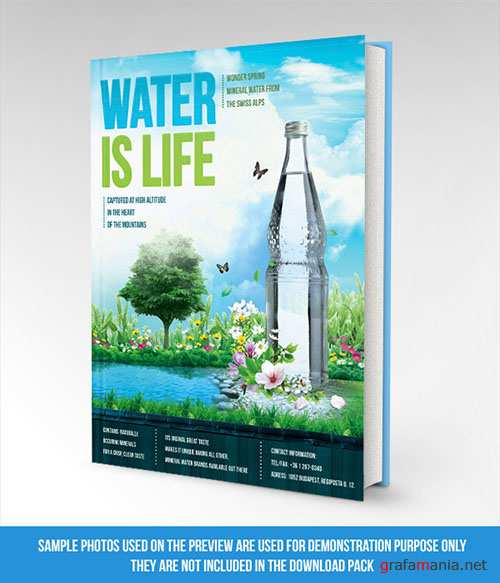 Water is Life Book Mockup PSD Template