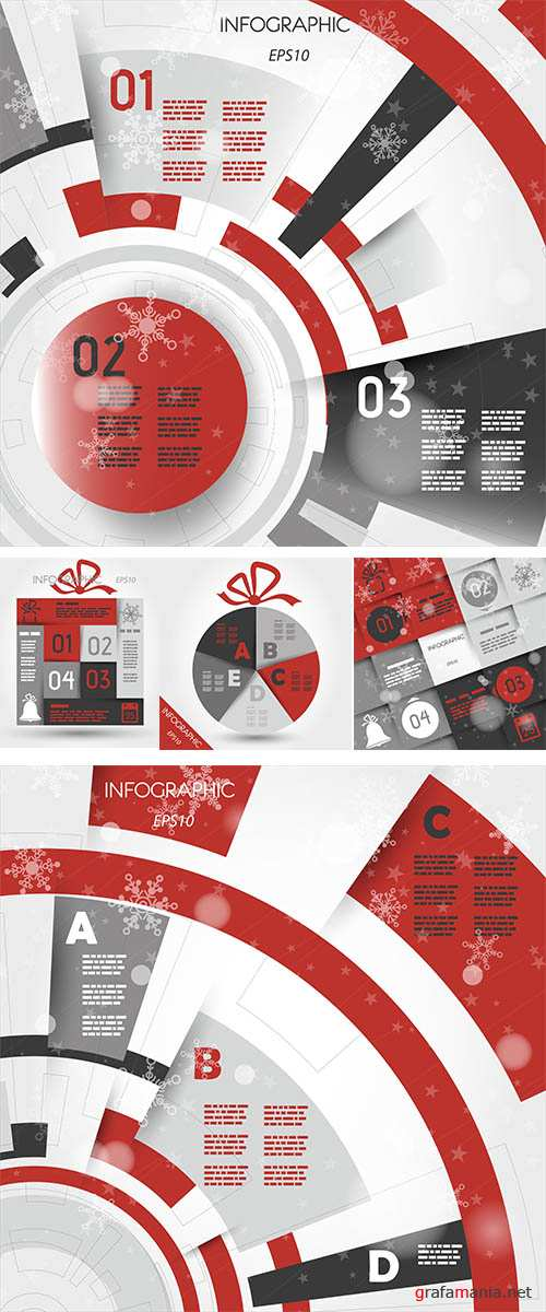 Stock: Red christmas infographic ring with five