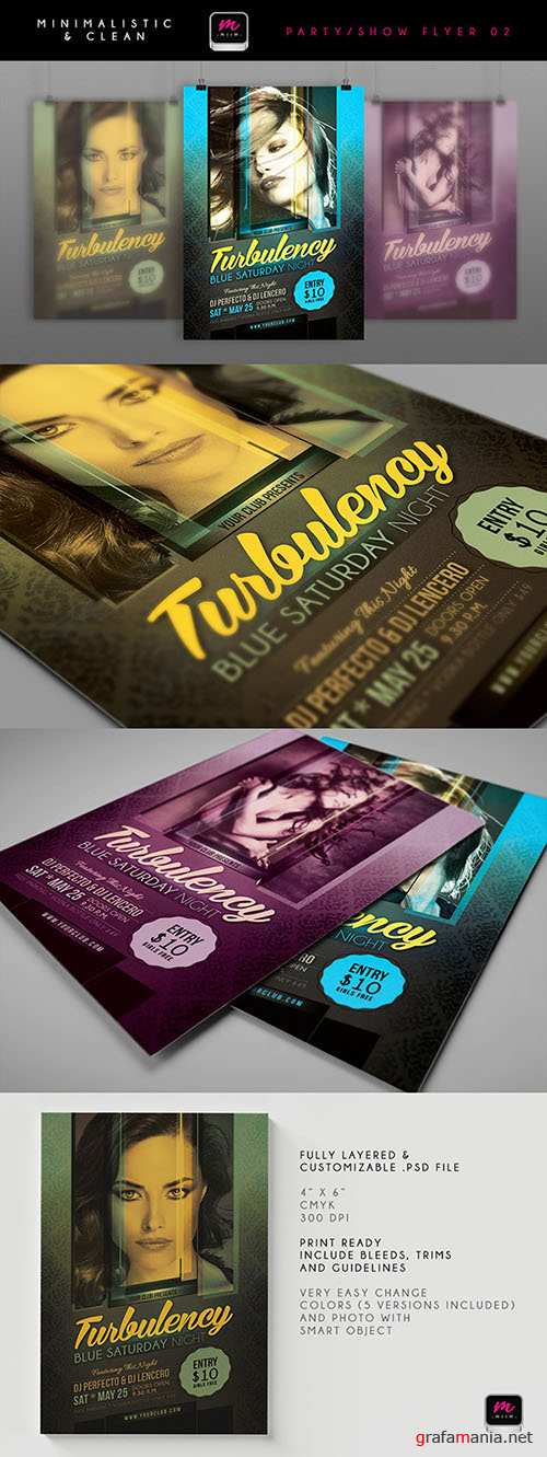 Turbulency Blue Saturday Night Flyer/Poster PSD Template