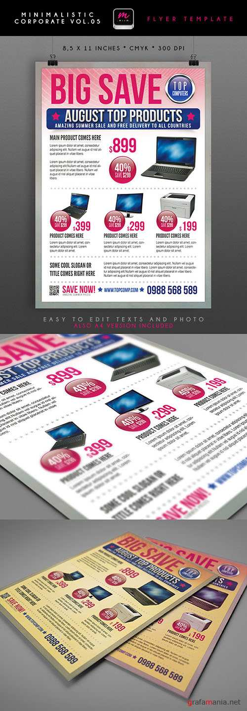Financial Solutions Minimalistic Corporate Flyer/Poster PSD Template #4