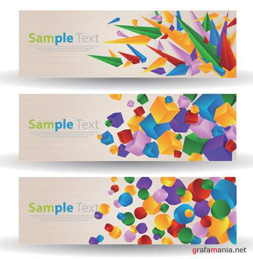 3 Colorful Cube and Circle Abstract Banners