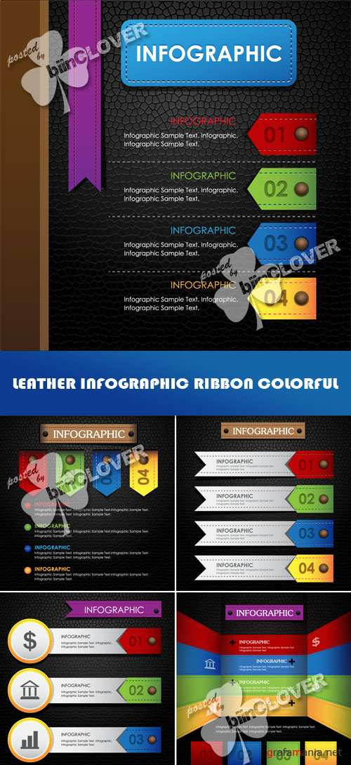 Leather infographic ribbon colorful 0511