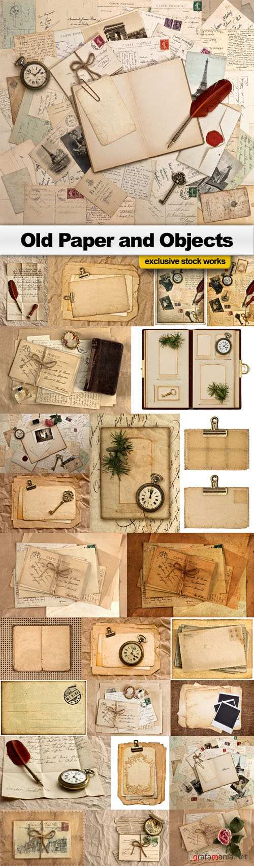Old Paper and Objects - 25 UHQ JPEG