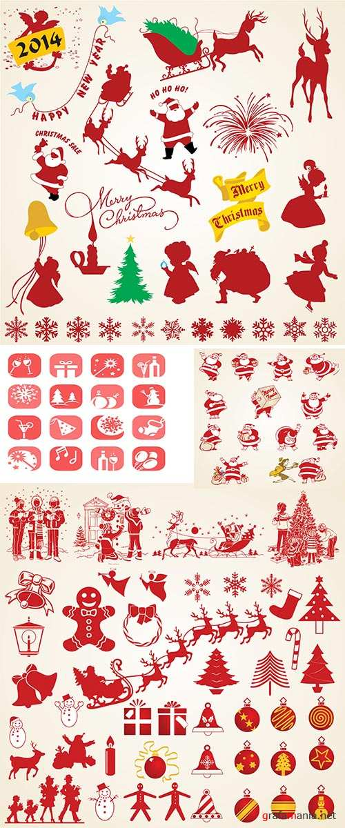 Stock: Christmas silhouettes vector icons
