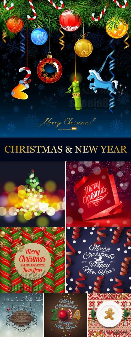 Christmas & New Year 2014 Vector 3