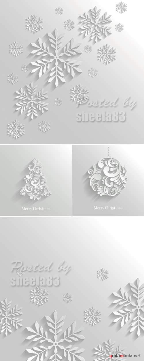White Christmas Backgrounds Vector 2