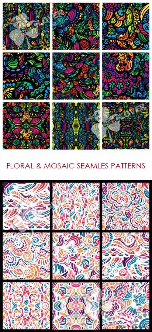 Floral and mosaic seamless patterns 0515