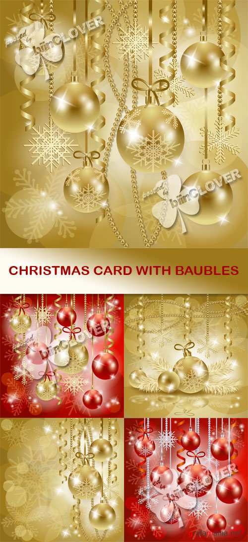 Christmas card with baubles 0515