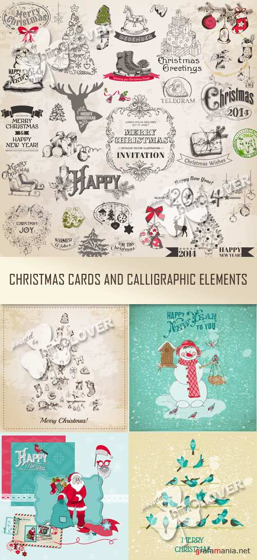 Christmas Card and calligraphic elements 0515