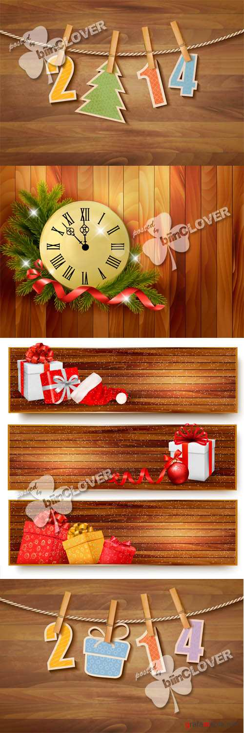 Christmas cards on wooden texture 0517
