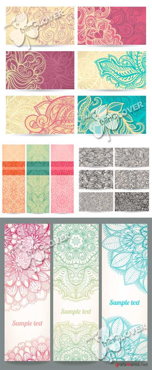Set of floral abstract banners 0519