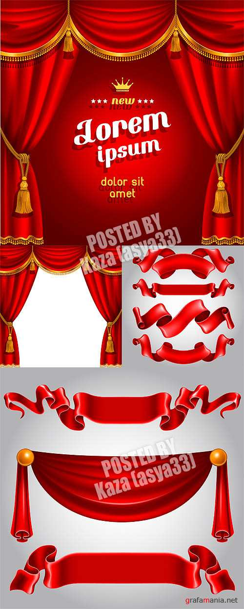 Red ribbons curtain