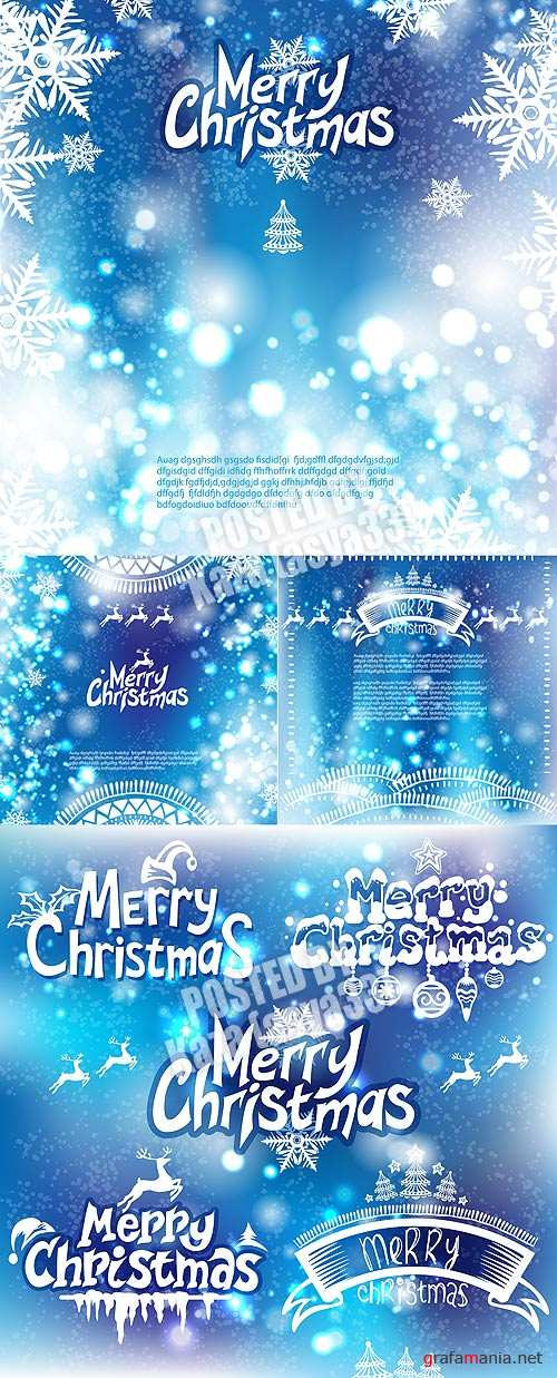 Blue Christmas & New Year cards