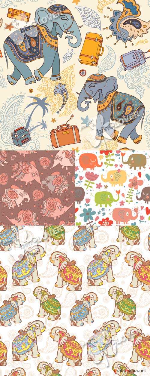 Seamless pattern with elephants 0523