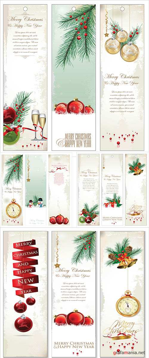 Stock: Merry Christmas banner vertical background