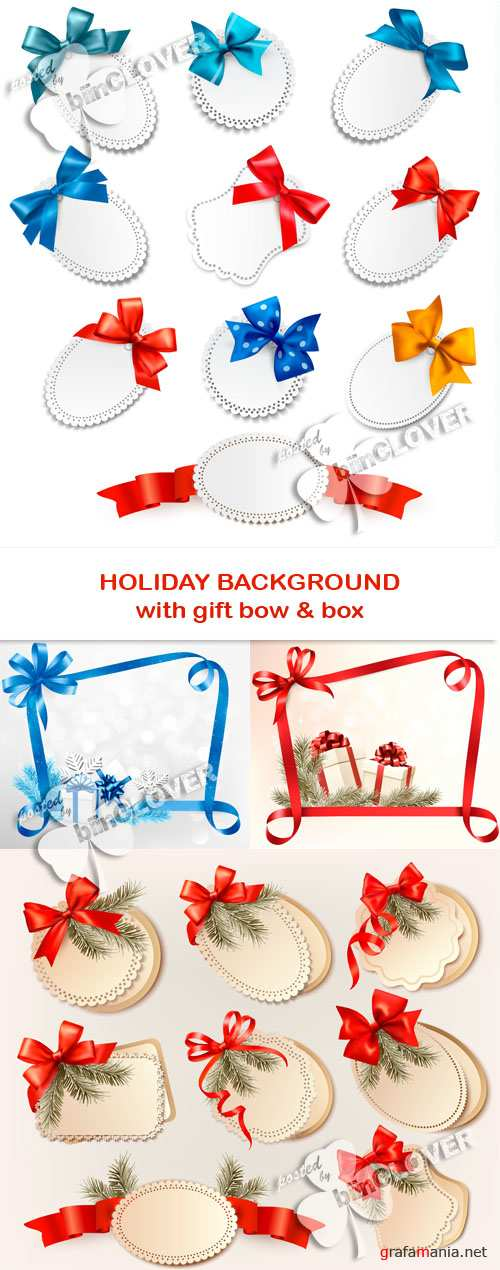 Holiday background with gift bow and box 0531