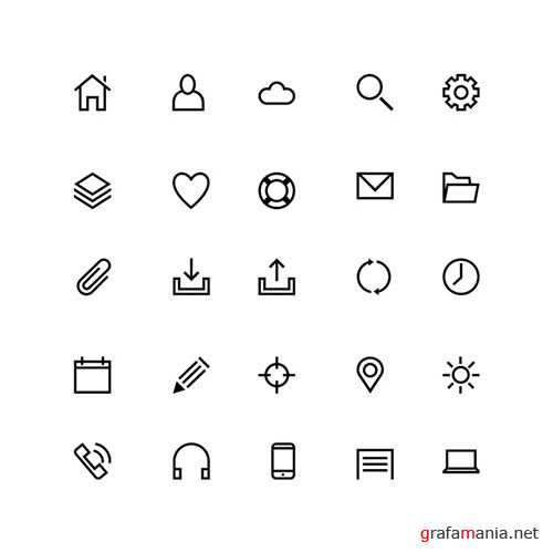 25 Line PSD and PNG Icons