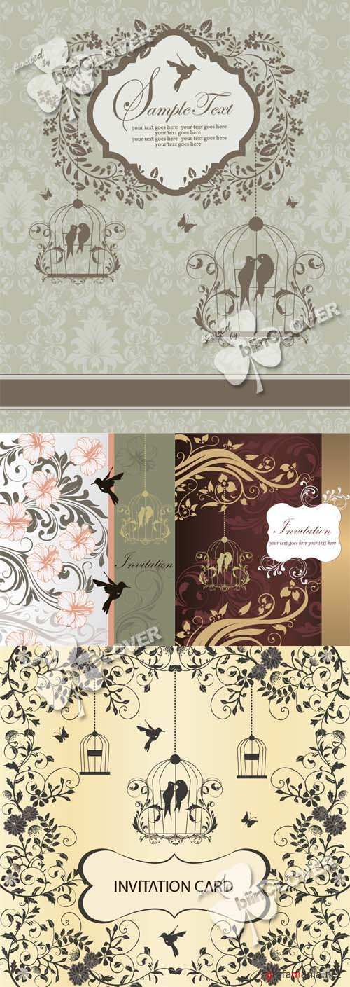 Wedding card with birdcage 0534