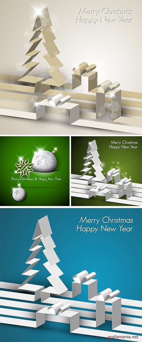 Stock: Merry Christmas card made from paper