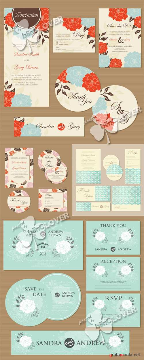 Floral wedding invitation cards 0536