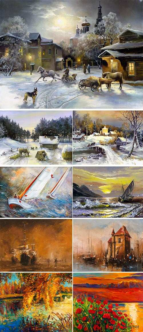 Stock Photo: Oil painting, rural landscape, garden flowers, Sailing boat