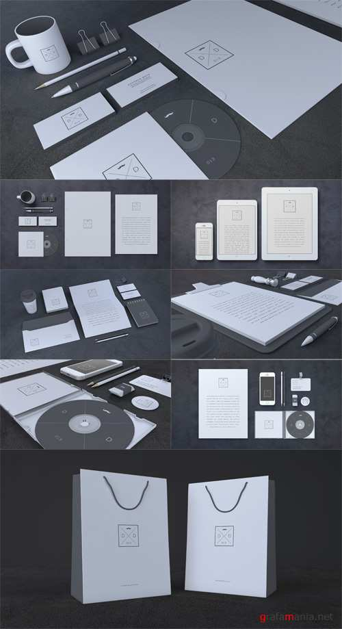 Black Stationery Mock up Templates