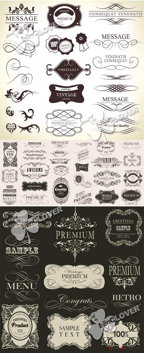 Retro calligraphic design elements 0542