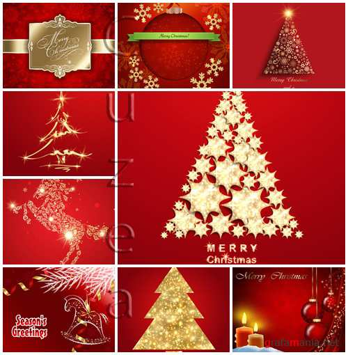 Vector stock : Christmas tree on red background