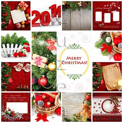 Stock photo : Merry christmas backgrounds in red